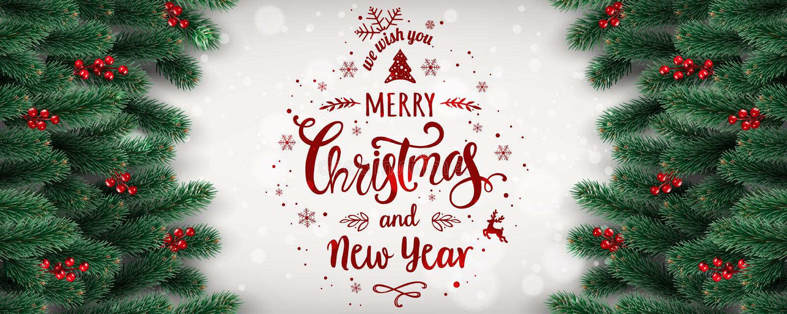 Merry Christmas and New Year Typographical on white background with fir branches, berries, lights, snowflakes. royalty free illustration