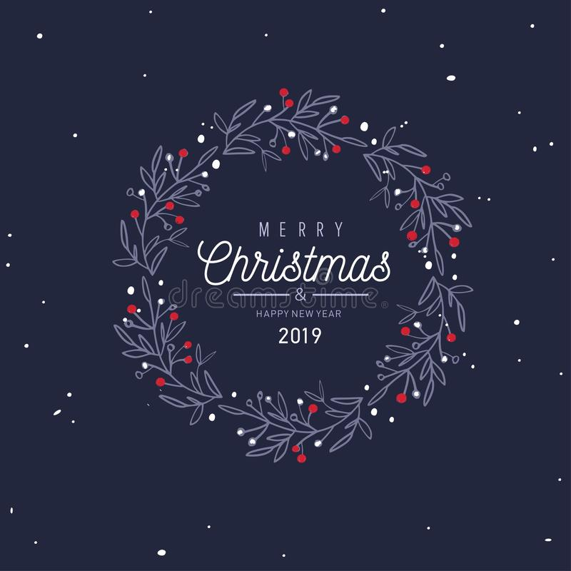 Merry Christmas and New Year vector card, banner, background vector illustration