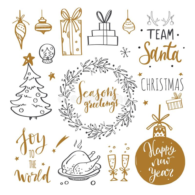Merry Christmas and New Year words on Christmas tree decoration. Vector hand drawn Lettering. With Christmas Doodle collection. Isolated objects royalty free illustration
