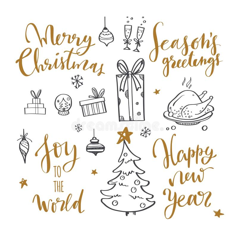 Merry Christmas and New Year words on Christmas tree decoration. Vector hand drawn Lettering. With Christmas Doodle collection. Isolated objects stock illustration
