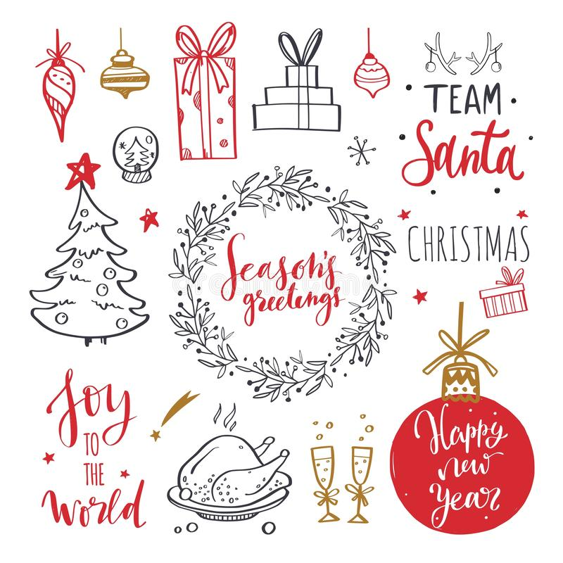 Merry Christmas and New Year words on Christmas tree decoration. Vector hand drawn Lettering. With Christmas Doodle collection. Isolated objects vector illustration