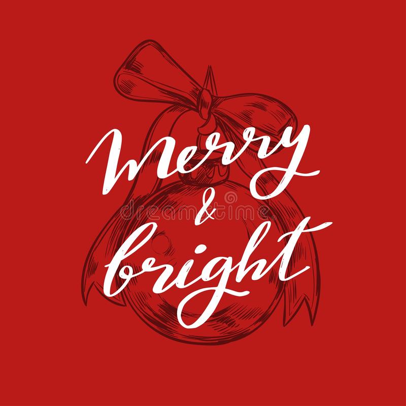 Merry Christmas and New Year words on Christmas tree decoration. Vector hand drawn. Lettering stock illustration