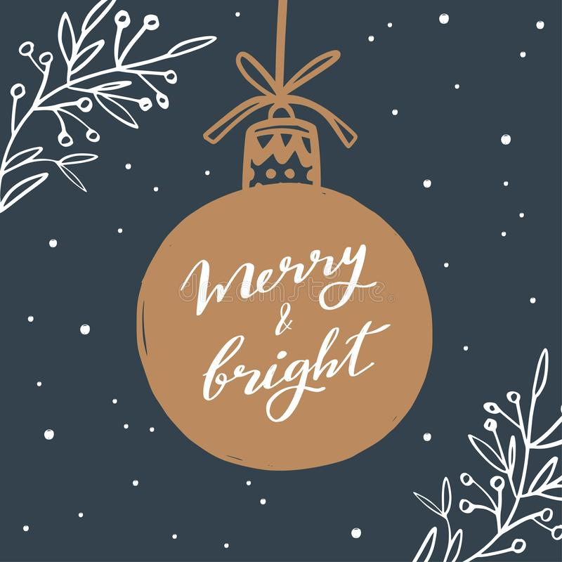 Merry Christmas and New Year words on Christmas tree decoration. Vector. Hand drawn Lettering royalty free illustration