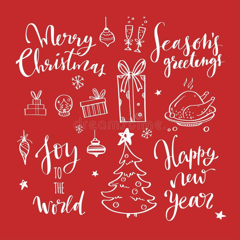 Merry Christmas and New Year words on Christmas tree decoration. Vector hand drawn Lettering vector illustration