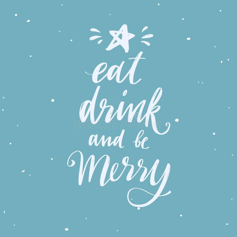 Merry Christmas and New Year words . Vector handwritten Typography poster Lettering Let It snow. Romantic saying stock illustration