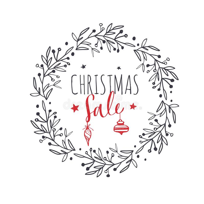 Merry Christmas and New Year words . Vector Lettering. Merry Christmas and New Year words on Christmas tree decoration. Vector hand drawn Lettering stock illustration