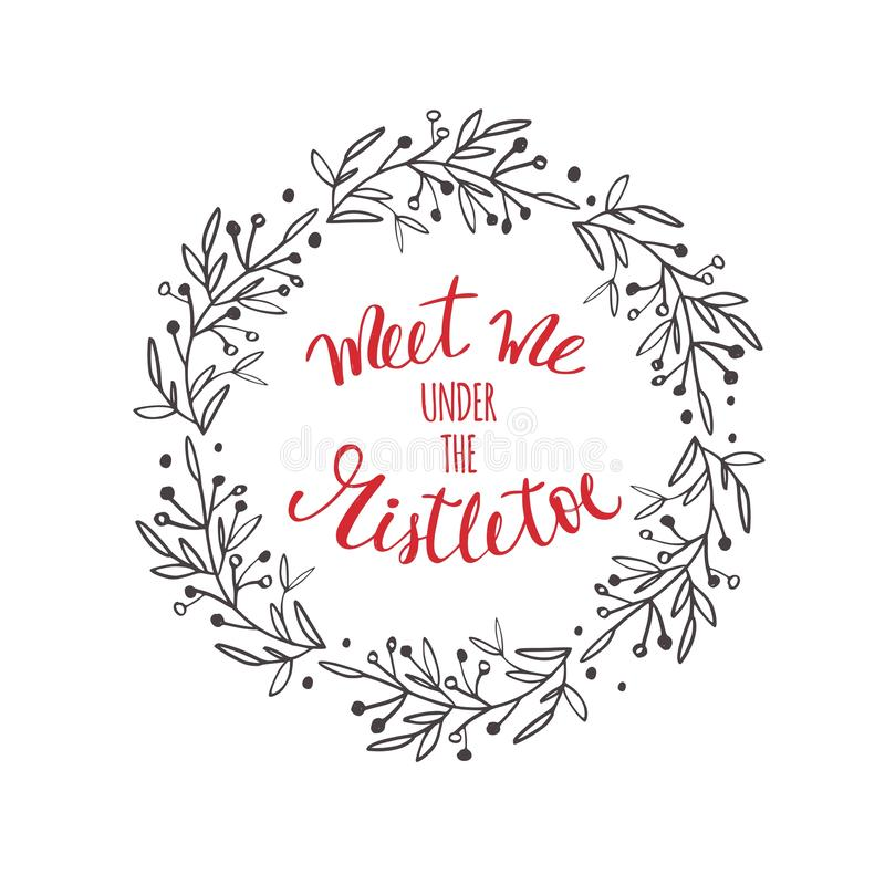 Merry Christmas and New Year words . Vector Lettering. Merry Christmas and New Year words on Christmas tree decoration. Vector hand drawn Lettering vector illustration