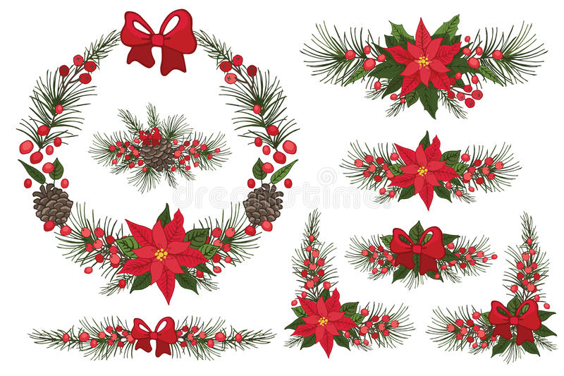 Merry Christmas and New Year Wreath,group stock illustration