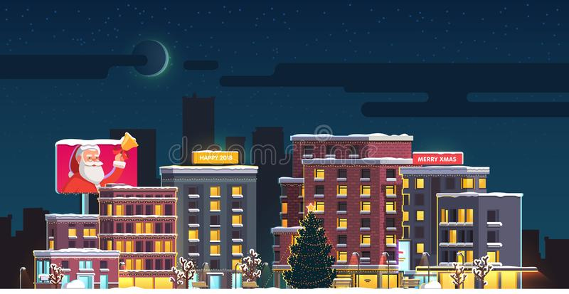 Merry Christmas night small town decorated square vector illustration