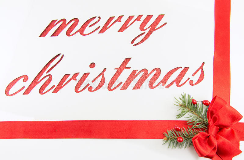 Merry christmas note cut out of paper stock illustration