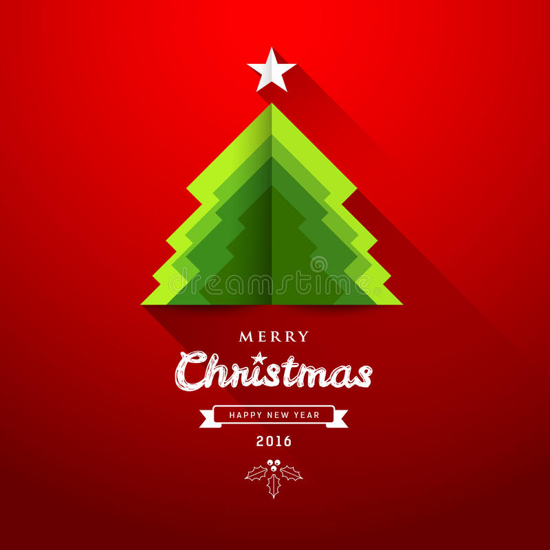 Merry Christmas origami paper green tree overlap. Concepts design greeting card on red background, illustration vector illustration