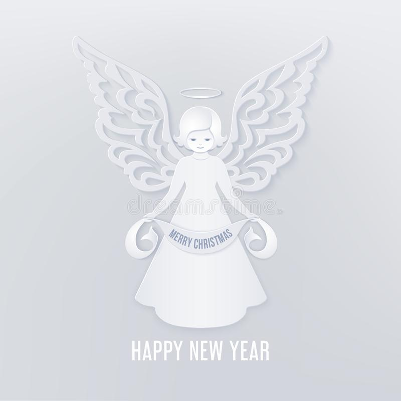 Merry Christmas paper cut card with angel vector illustration