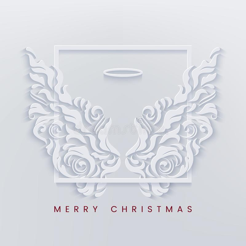 Merry Christmas paper cut card with angel wings royalty free illustration