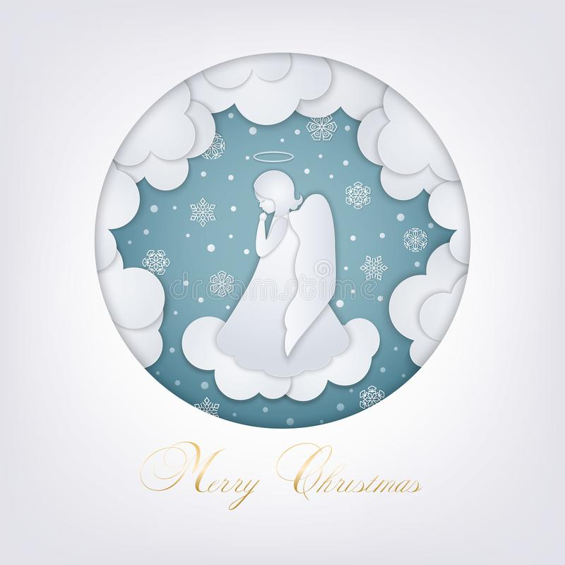Merry Christmas paper cut card stock illustration
