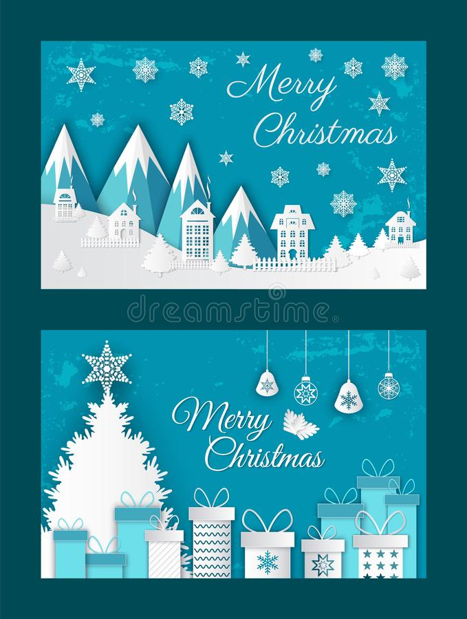 Merry Christmas Paper Cut Greeting Card with Snow royalty free illustration
