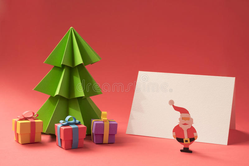 Merry Christmas Paper Cut Handmade Card Template Stock Image  Image