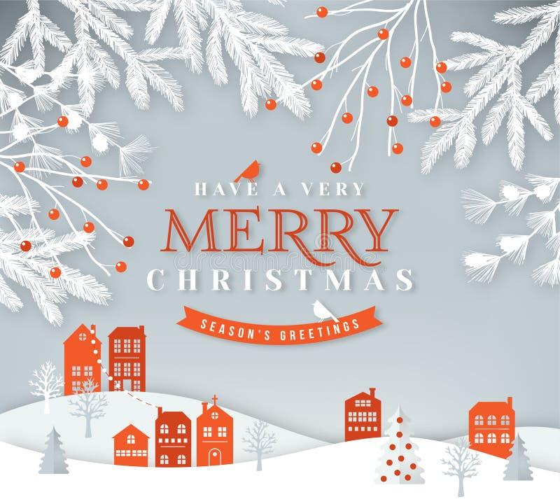 Merry Christmas paper cut vector illustration. Christmas greeting card vector illustration