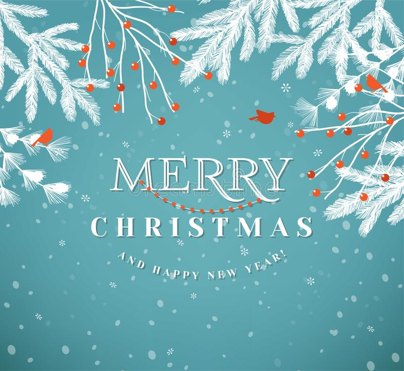 Merry Christmas paper cut vector illustration. Christmas greeting card royalty free illustration
