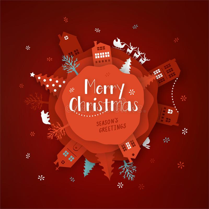 Merry Christmas paper cut vector illustration. Greeting card with Christmas tree and paper cut city. stock illustration