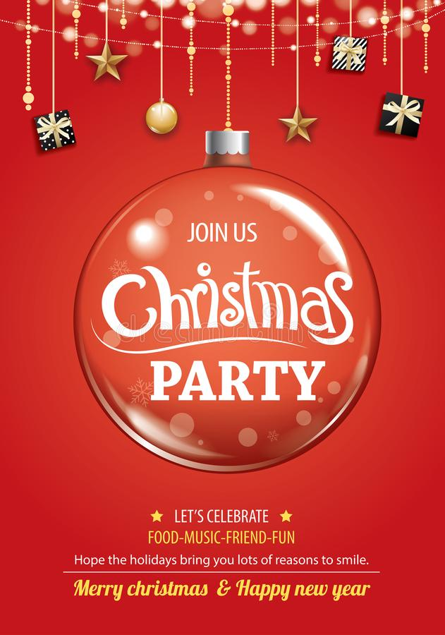 Free Merry Christmas Party And Glass Ball For Flyer Brochure Design O Royalty Free Stock Photography - 105446567