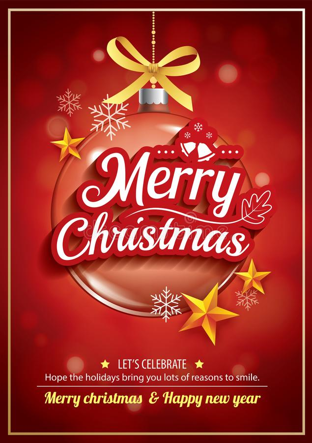 Free Merry Christmas Party And Glass Ball For Flyer Brochure Design O Royalty Free Stock Photo - 105447345