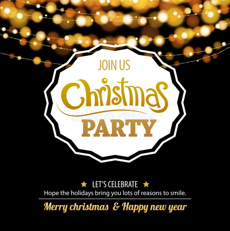 Merry christmas party bokeh light for flyer brochure design on d vector illustration