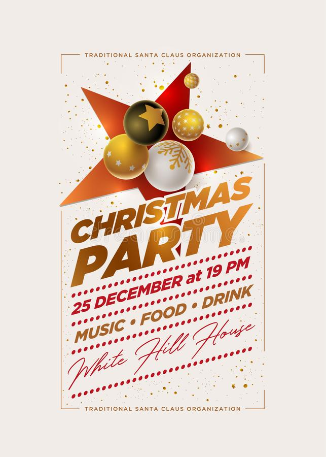 Merry Christmas Party Design Template stock illustration