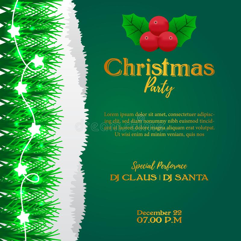 Merry Christmas party event poster banner with green background and illustration of fir garland decoration and holly leaves. Joy vector illustration