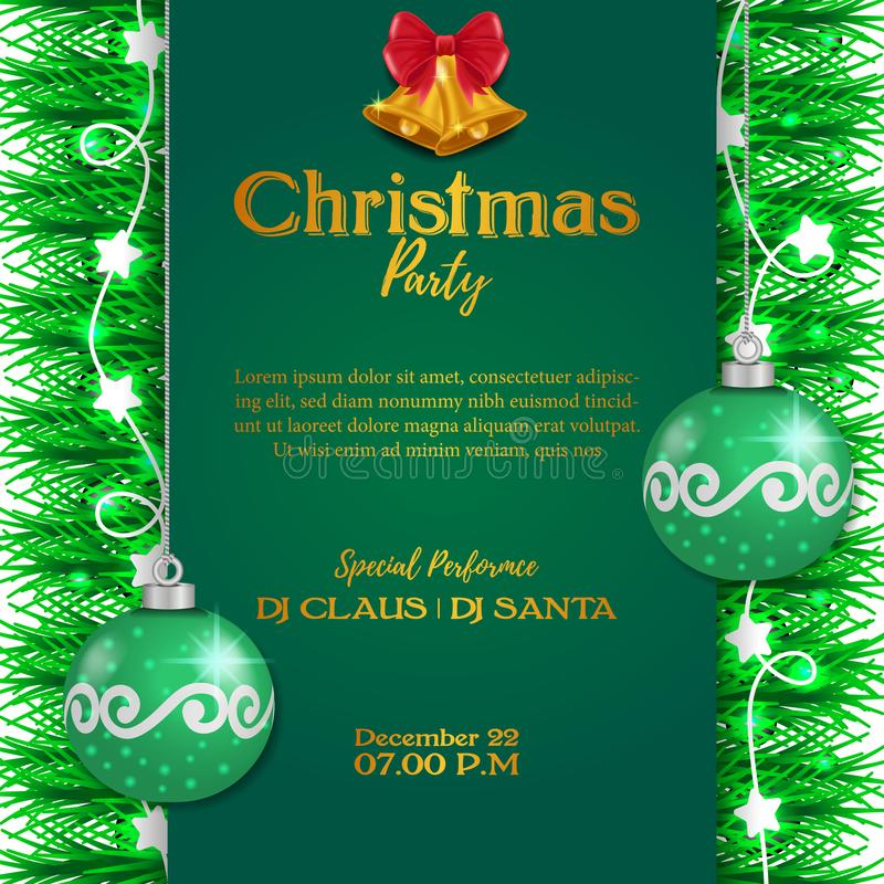 Merry Christmas party event poster banner with green background and illustration of fir garland decoration and luminous lamp and. Golden bell and green sphere stock illustration