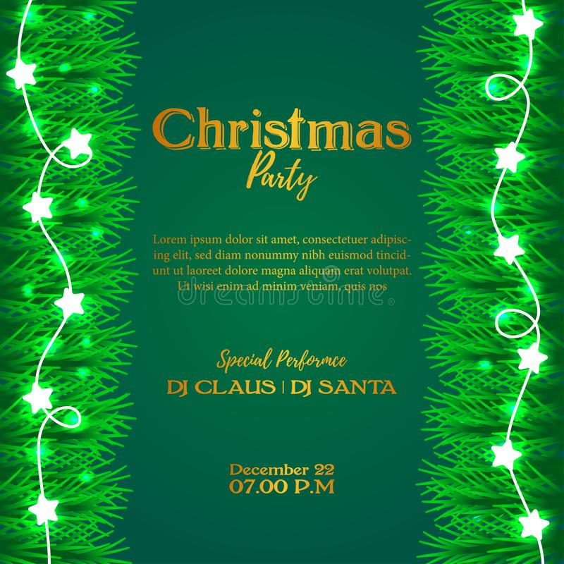 Merry Christmas party event poster banner with green background and illustration of fir garland decoration and luminous lamp. Joy stock illustration