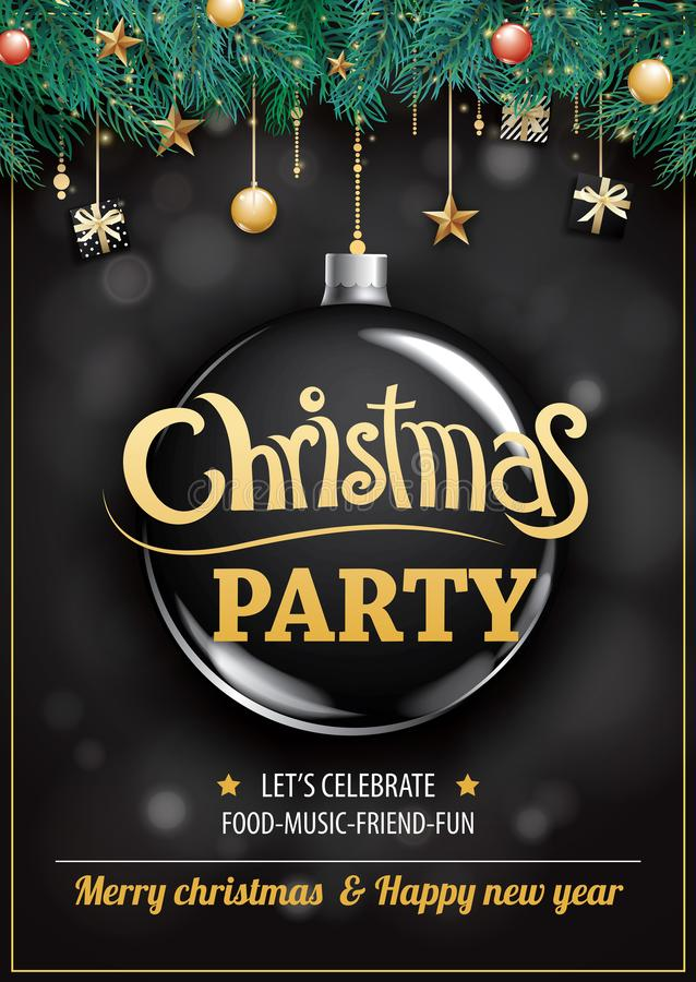 Merry christmas party and glass ball on dark background invitation theme concept. Happy holiday greeting banner and card design t. Emplate royalty free illustration