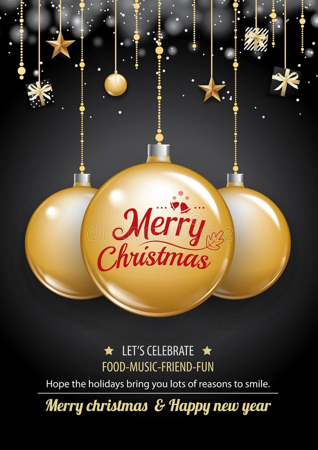 Merry christmas party and gold ball on dark background invitation theme concept. Happy holiday greeting banner and card design te royalty free illustration