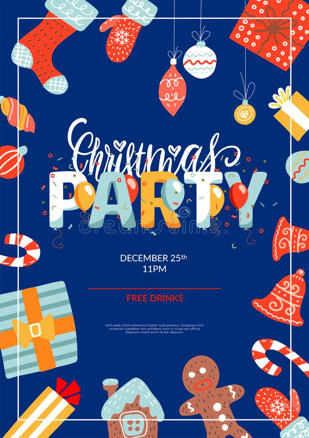 Merry Christmas party layout A4 poster or flyer template. Christmas holidays invitation with design elements. Flat vector. Illustration vector illustration