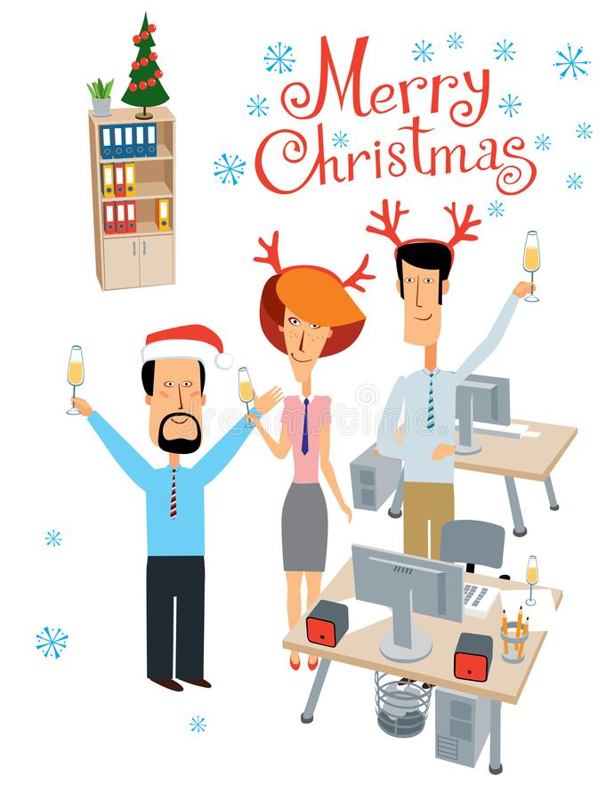 Merry Christmas. Party at the office. Cheerful colleagues celebrate. Vector full color graphics with cute characters vector illustration