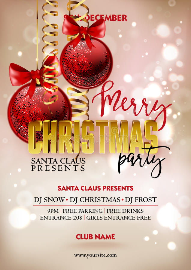 Download Merry Christmas Party Poster Design Template With Decoration Balls Stock Vector