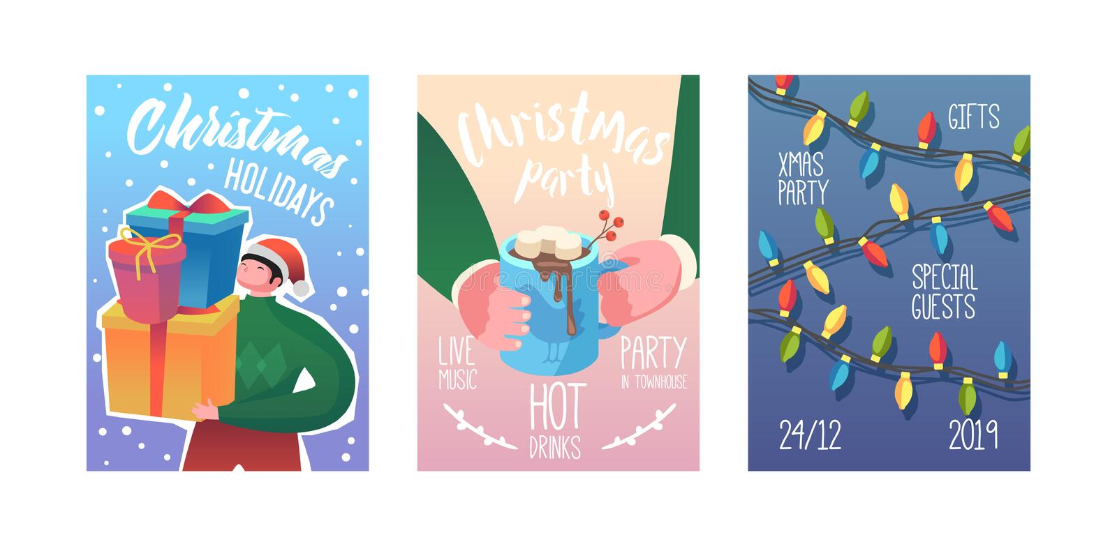 Merry Christmas Party Poster, Invitation, Flyer Template. Xmas Vintage Banner Greeting Card with Gifts and Garland vector illustration