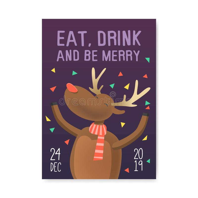 Merry Christmas 2019 Party Poster, Invitation, Flyer Template. Xmas Vintage Banner Greeting Card with Reindeer stock illustration