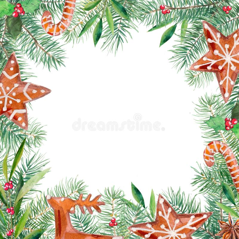 Merry Christmas pattern, gingerbread, firtree, olive, holly border. Watercolor handdrawn illustration frame. royalty free illustration