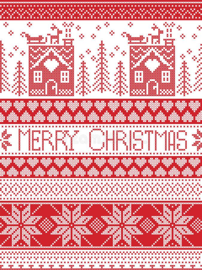 Merry Christmas pattern with gingerbread house, Christmas tree, heart, reindeer, sleigh,. Merry Christmas Scandinavian Textile style, inspired by Norwegian vector illustration