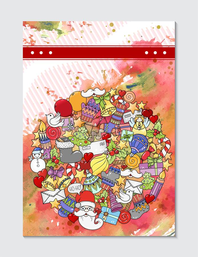 Merry christmas pattern for holiday greeting cards, print, book page, bullet journal or wrapping paper. Bells, Santa, tree, socks, stock images