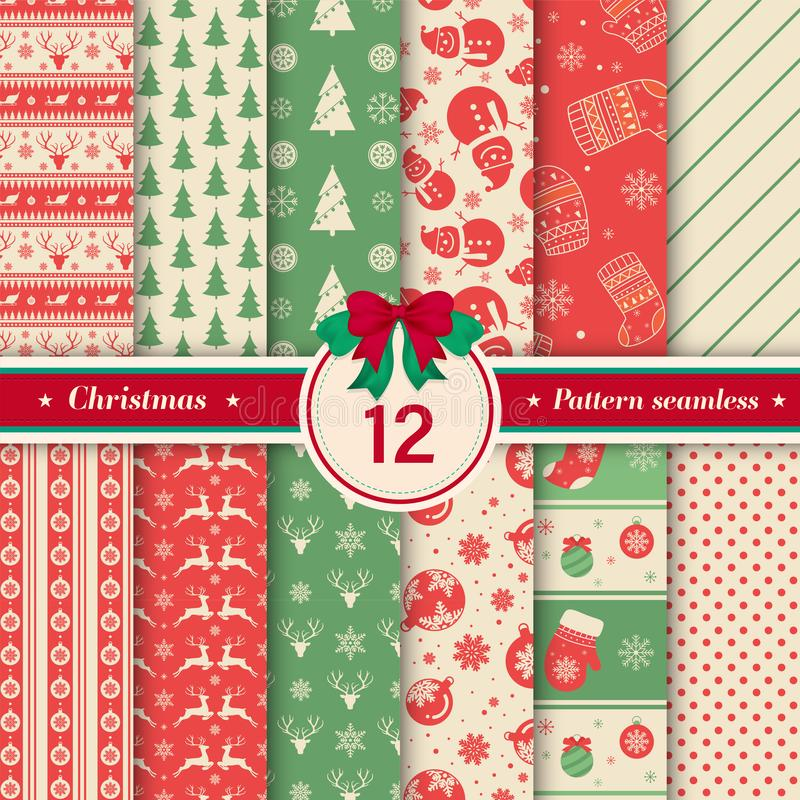 Merry Christmas pattern seamless collection. X-mas background. vector illustration