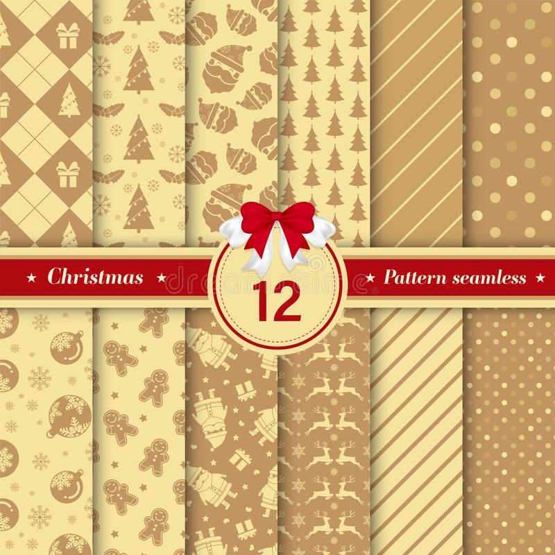 Merry Christmas pattern seamless collection. Gold color stock illustration