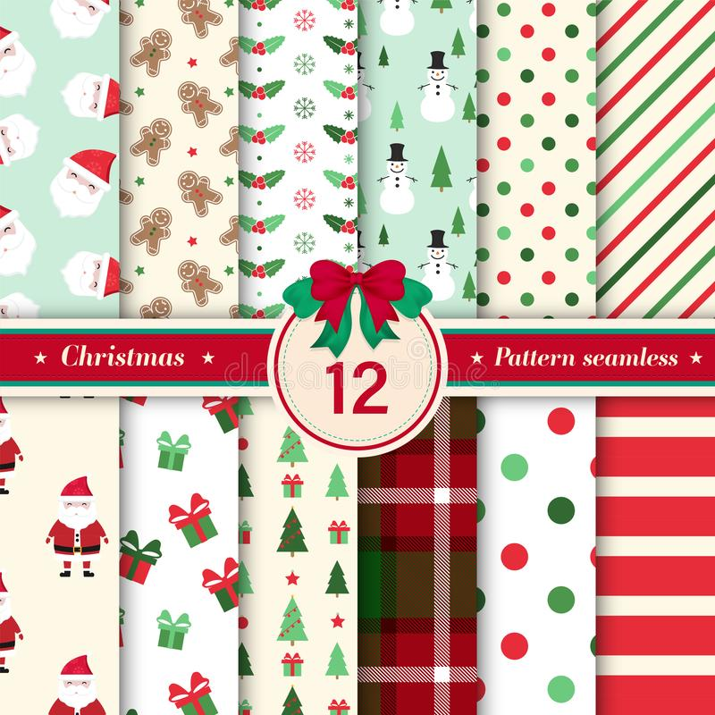 Merry Christmas pattern seamless collection. Red and green color royalty free illustration
