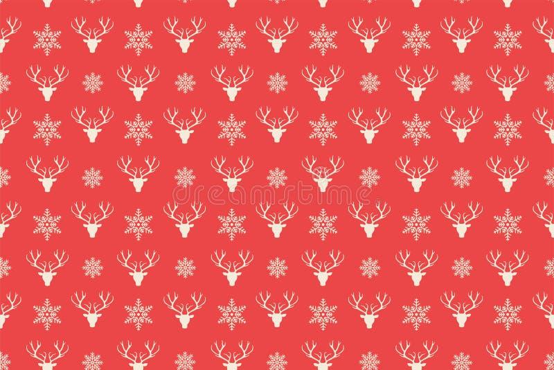 Merry Christmas pattern seamless. Reindeer head background. vector illustration