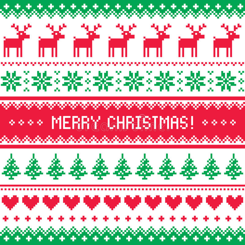 Free Merry Christmas Pattern With Deer - Scandynavian Sweater Style Royalty Free Stock Image - 34977486