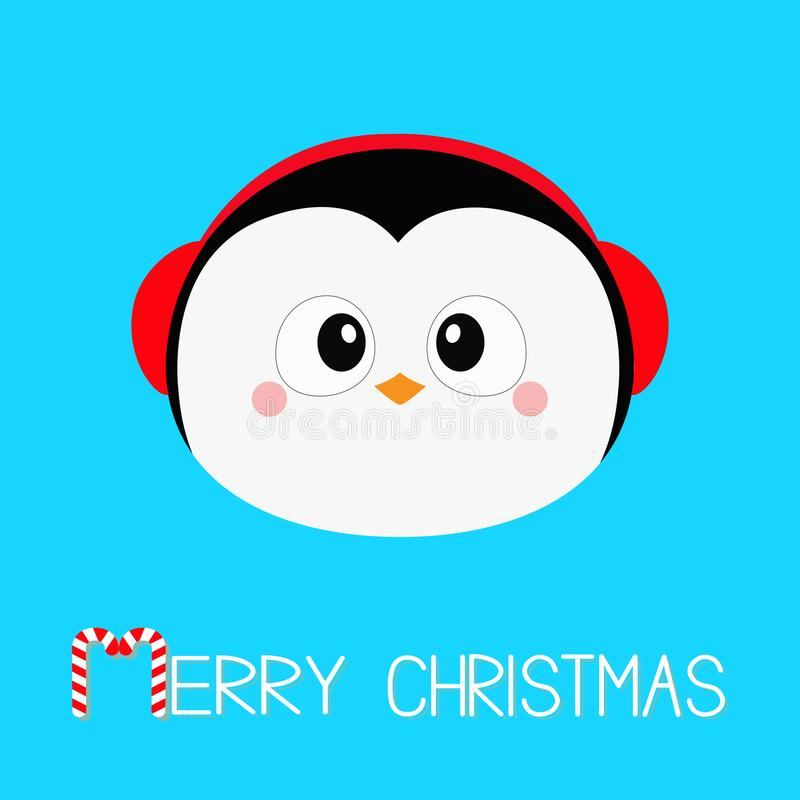 Merry Christmas. Penguin round head face icon. Red headphones hat. Happy New Year. Cute cartoon kawaii baby character. Arctic royalty free illustration