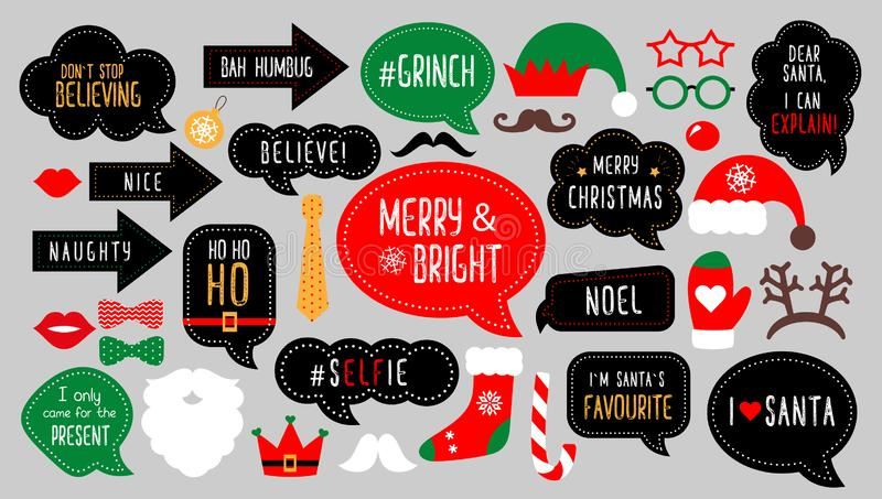 Merry christmas photo booth props photobooth party stock illustration
