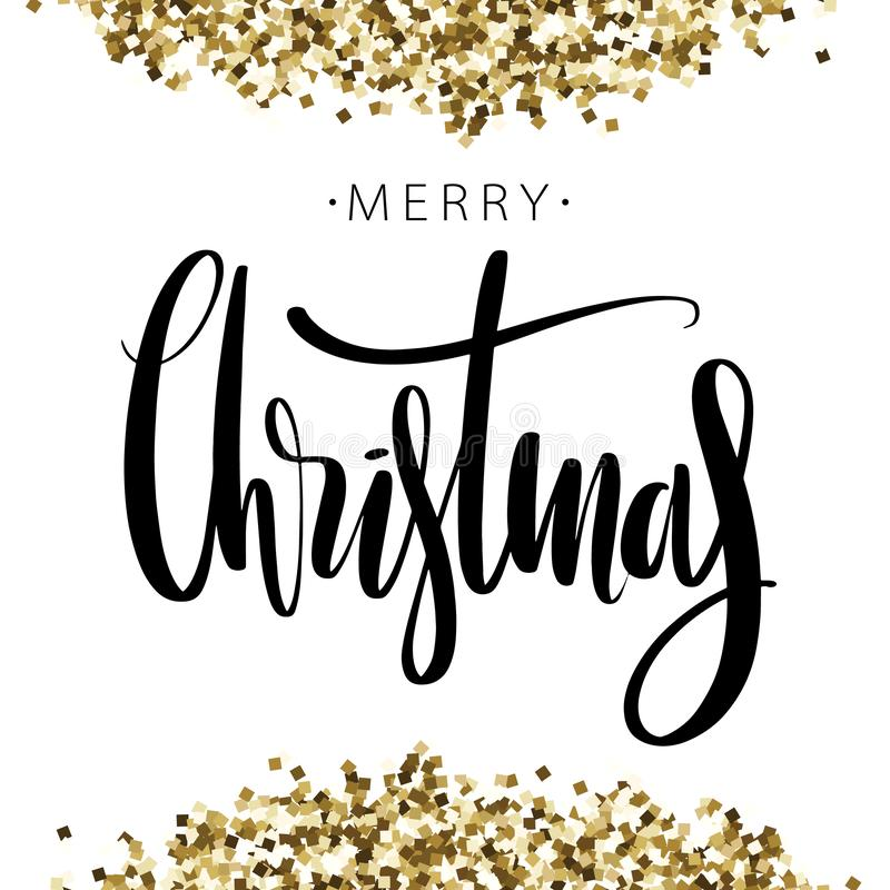 Merry Christmas phrase on backgroun with golden glitter. Hand drawn creative calligraphy and brush pen lettering, design. Merry Christmas on backgroun with royalty free illustration
