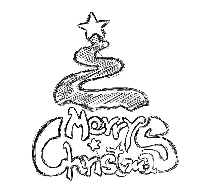 Download Merry Christmas Phrase Sketch Stock Vector - Image: 10025458