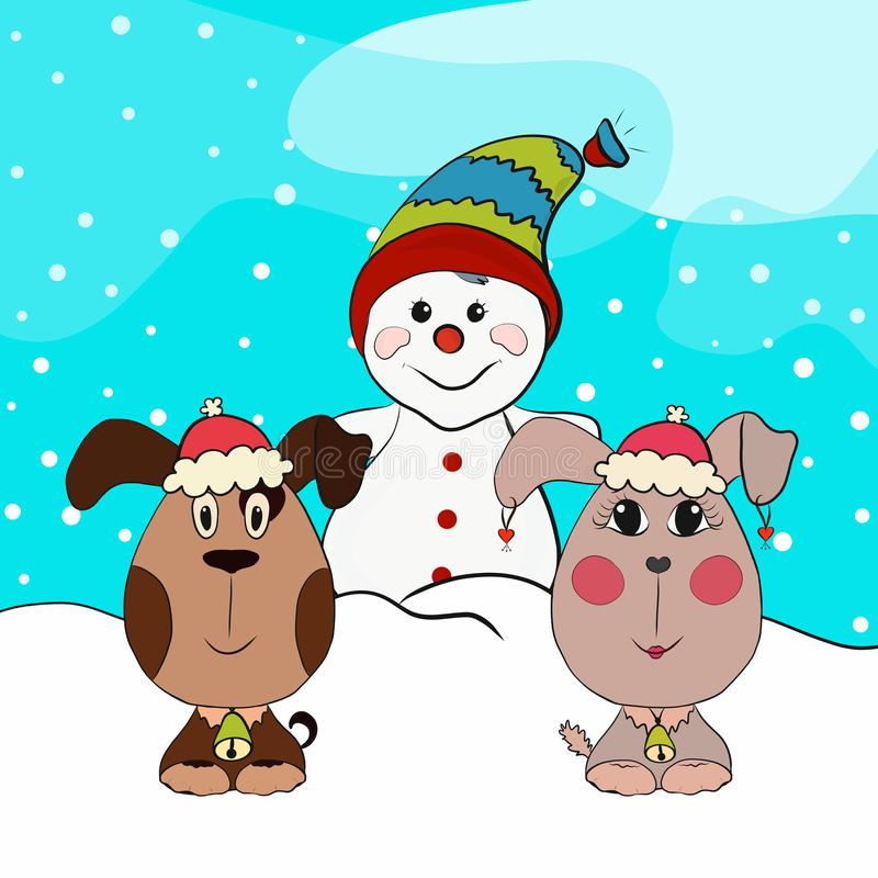 Merry Christmas picture with dogs and a snowman.  royalty free illustration